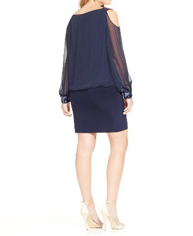 Betsy & Adam Womens Plus Chiffon Sequined Cocktail Dress Navy 18W