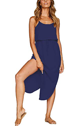 MISSLOOK Women's Adjustable Spaghetti Straps Sundress Irregular Hem Split Slip Dress Sleeveless Summer Beach Midi Dress - Blue M