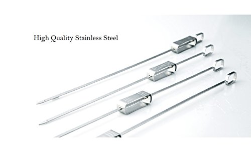 """4 Piece Stainless Steel Skewer (ChefGiant BBQ Grill Skewer (4 pc set) 17 ¾"""" Lock and Slide Skewer Stainless Steel Barbecue Sliding Stick – Ideal for Shish Kebab and Veggie Kabobs)"""