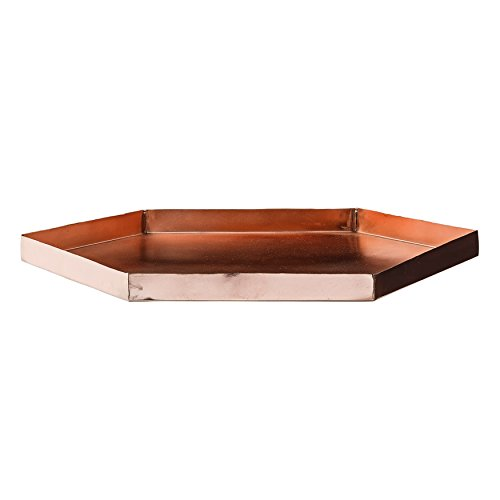 Bloomingville Hexagonal Metal Tray with Copper Finish, Multi