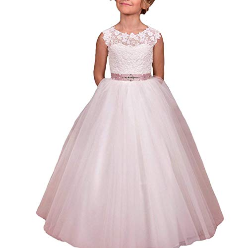 Flower Girls Lace Tulle Gowns First Communion Dresses