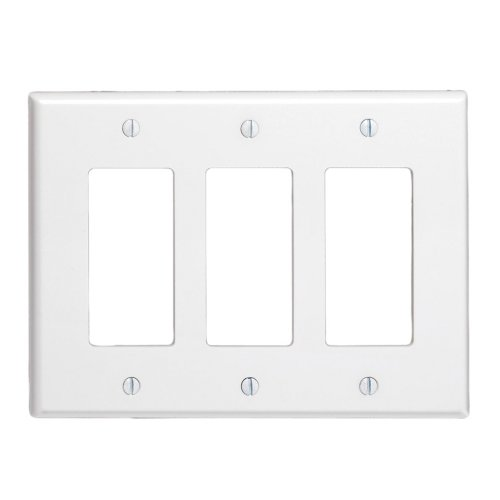 LEVITON 80611-W Decorator 3 Gang Wallplate Midsize White - 609066,