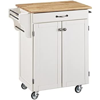 Amazon Com Create A Cart White Kitchen Cart With Wood