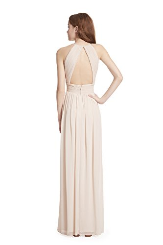 Samantha Paige Shirred Front Keyhole Back, Halter Neckline Pleated A-line Chiffon Formal Dress,Champange,8