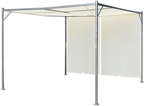 SENLUOWX Pérgola con Techo retráctil Blanco Crema Acero 3x3 m: Amazon.es: Jardín