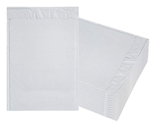 Premium White poly Bubble Mailers. Pack of 10 large padded envelopes. Usable size 10 1/2 x 15 ( 10.5 x 15 ). Exterior size 11 x 16 ( 11x16 ). Peel-N-Seal. Mailing & shipping & packing. Mfg# 10x15. ()