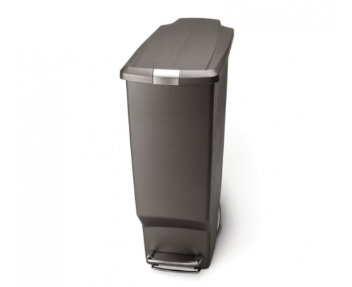 simplehuman 40 Liter / 10.6 Gallon Slim Kitchen Step Trash Can, Grey Plastic With Secure Slide - Trash Step Cans
