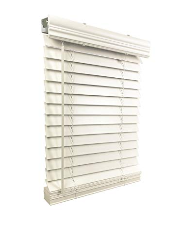 US Window And Floor 2″ Faux Wood 38.5″ W x 48″ H, Inside Mount Cordless Blinds, White