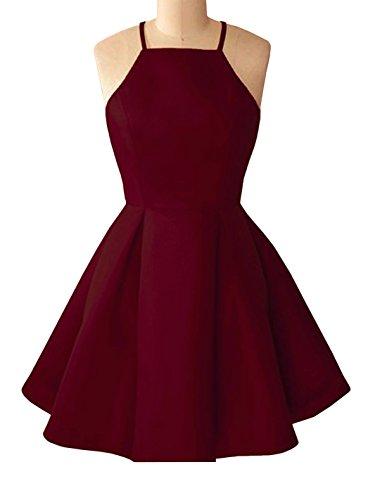 Short Pleated Dress - Yangprom Simple Halter Sleeveless Pleated A-line Short Homecoming Formal Dress 2