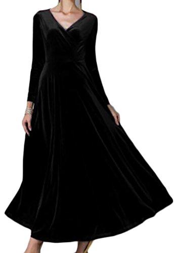 Jaycargogo Des Femmes De Velours V-cou Manches Longues Robe De Swing Maxi Fête De Mariage Noir M