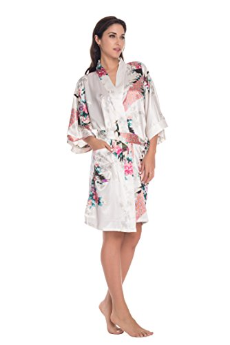 Joy Bridalc Womens Satin Short Kimono Bridemaid Robe Bathrobe for Wedding Party
