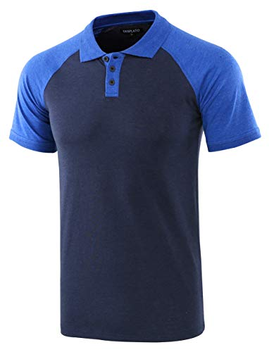 DESPLATO Men Casual Basic Active Short Raglan Sleeve Jersey Henley Polo T Shirt Navy/H.Blue XXL