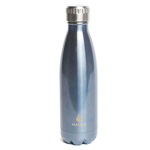 MANNA 17 Oz Stainless Steel Vacuum Insulated Water Bottle | Cola Shape Thermos | 24 Hours Cold, 12 Hours Hot | Reusable Metal Water Bottle | Leak-Proof Sports Flask | (Shark Blue)