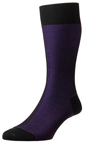 Pantherella Mens Santos Shadow Rib Cotton Lisle Socks - Black/Crocus Purple - ()