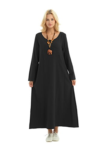 - Anysize Long-Sleeved Linen Cotton Spring Summer Dress Plus Size Clothing F148A Black