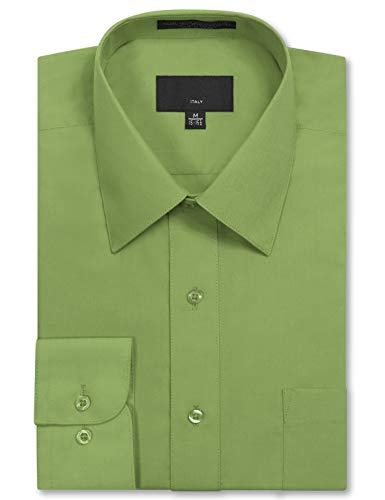 JD Apparel Men's Long Sleeve Regular Fit Solid Dress Shirt 19-19.5 N 34-35 S Apple ()