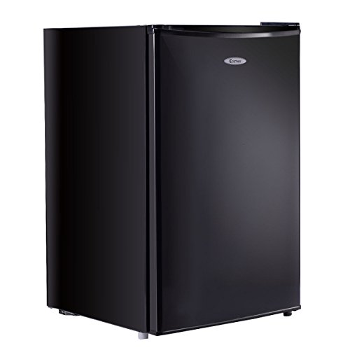 Costway 4.3 cu. ft. Compact Mini Door Mini Refrigerator Freezer Cooler, Stainless Steel,Black