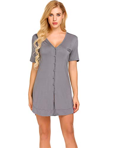 4fdb9ab10b01e Avidlove Women's Nightshirt Short Sleeve Button Down Nightgown V-Neck Boyfriend  Sleepshirt Pajama Dress