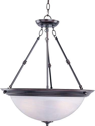 - Maxim Lighting 5846MROI, Essentials 3-Light Invert Bowl Pendant, Oil Rubbed Bowl