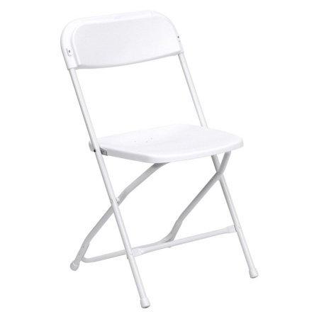 Flash Furniture HERCULES Series 800 lb Capacity Premium Plastic Folding Chair, Multiple Colors (White)