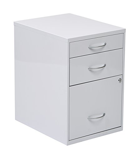 - Office Star 3-Drawer Metal File Cabinet, White Finish