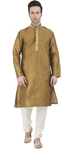 (SKAVIJ Men's Tunic Art Silk Kurta Pajama Set Party Dress (Medium, Brown))