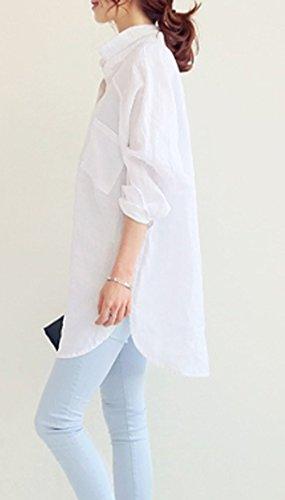Fashion Shirts Tops Long Bouton Lache Irrgulier Haut JackenLOVE Blanc Tunique Femmes Blouses Longues Casual Printemps Manches Revers Chemisiers avec 7qn0wv