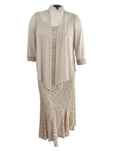 R&M Richards Womens Plus Sequined Lace Dress with Jacket Beige 14W