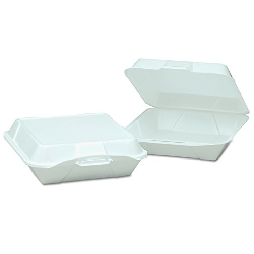 1 Compartment Foam Container - Genpak 25000 Foam Hinged Container, 1-Compartment, Jumbo, 10-1/3x9-1/3x3, White, 100 Per Bag (Case of 2)