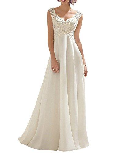 Abaowedding Women's Wedding Dress Lace Double V-Neck Sleeveless Evening Dress Ivory US 22 Plus Chiffon Empire Beaded Bodice Dress