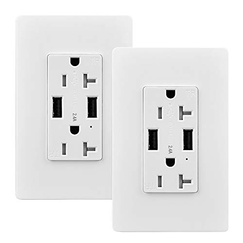 USB Outlet, 2 Pack 20 Amp Tamper Resistant Wall Outlet with