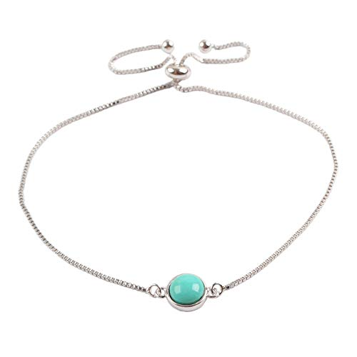 ZENGORI 1 Piece 925 Sterling Silver Round Natural Turquoise Adjustable Bracelet SS197