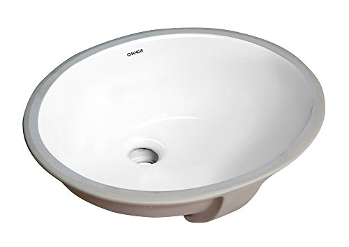 CHANGIE 1636W Bathroom Ceramic Sink Oval Lavatory Undercounter,White,13x11 inches ()