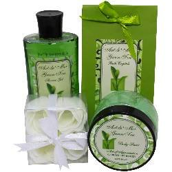 4 Home Collection Spa Piece (Green Tea Spa Bath Gift Set by Art de Moi, 4 Piece Kit with Shower Gel, Moisturizing Lotion, Body Scrub, and Flower Soaps, Perfect for Women, Young Adults and Girls)