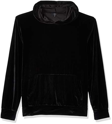 (GUESS Men's Long Sleeve Velvet Hoodie, Jet Black/Multi, M)