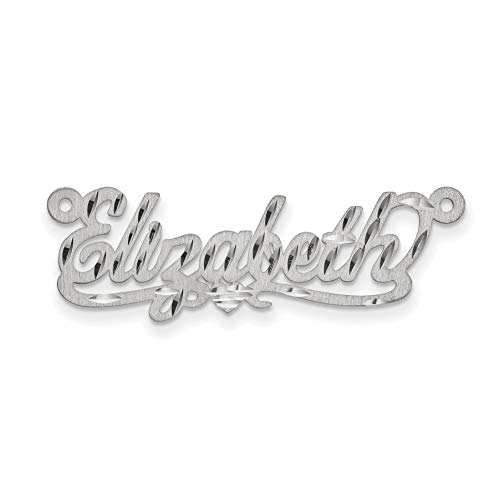 14K White Gold Gauge Satin Diamond-Cut Nameplate Personalized Pendant ()