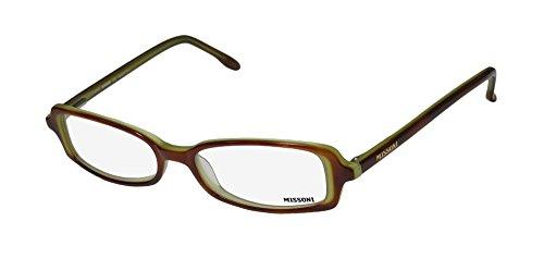 Missoni 08804 Mens/Womens Ophthalmic Popular Shape Designer Full-rim Spring Hinges Eyeglasses/Eyewear (49-16-135, Amber (Original X Men Costumes)