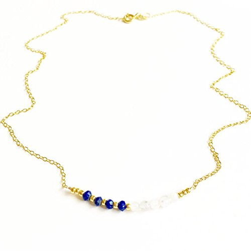(Floating Lapis Lazuli and Moonstone Gold Vermeil Gemstone Necklace //Lapis lazuli jewellery //bridesmaid gifts //gifts for women //handmade 3mm 16