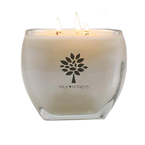 Large Soy Scented Candle - CASHMERE LA VIE is 100% Soy 3 Wick 15oz Luxe Heavy Glass Tapered Square Jar - Pretty Gift that is Hand Poured Using Only The Very Finest Waxes and Fragrances