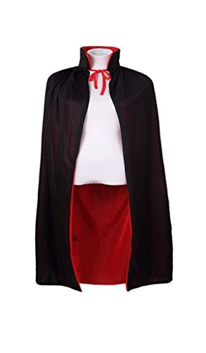 """Meeyou 35"""" Black & Red Reversible Cape for Kids Costume, Masquerade (Black)"""