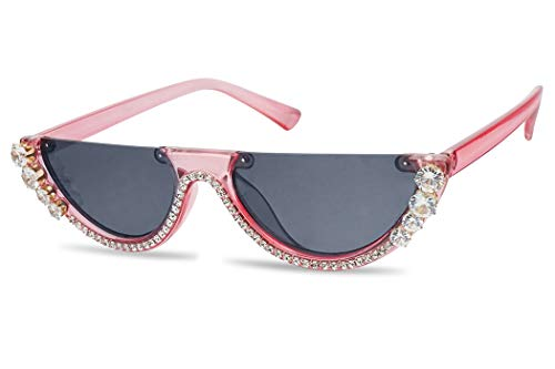 SunglassUP Half Moon Diamond Studded Rhinestone Flat Top Sun Glasses Semi-Rimless Jeweled Clout Cat Eye Shades (Crystal Pink Frame | Black)