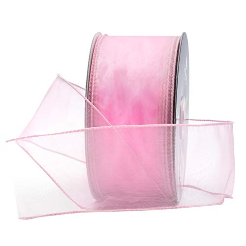 Light Pink Organza Wired Sheer Ribbon 2.75
