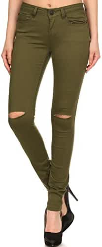 Vialumi Women's Solid Colored Pants Slashed Knee Skinny Jeans - Many Colors