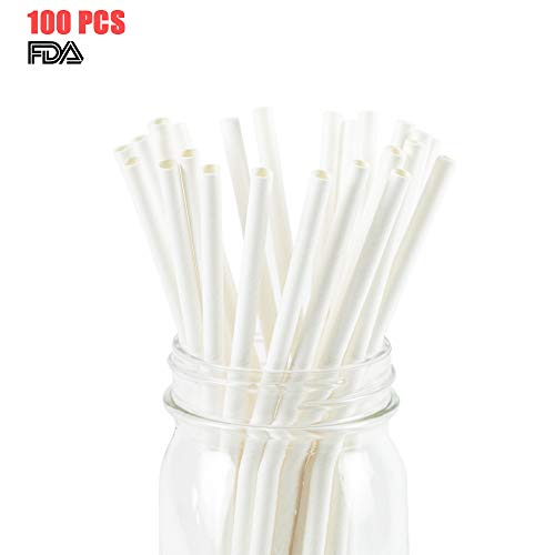 White Paper Straws Biodegradable Disposable Party Decoration and Party Drinking Straws 100 Count for Wedding, Birthday Party or any Themed Party (White-100) -
