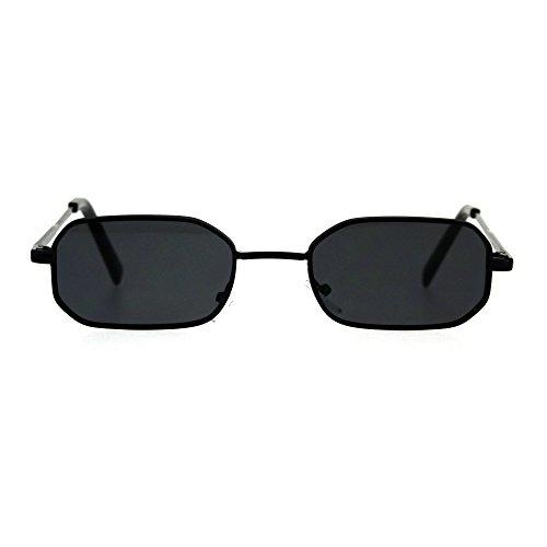 Mens Narrow Metal Rim Rectangular Hippie Pimp Sunglasses All Black (Narrow Sunglasses For Men)