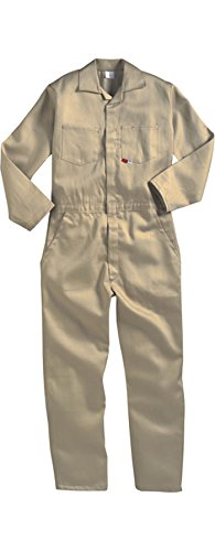 KHAKI - 4X - Saf-Tech Flame Resistant (FR) Contractor Coveralls - 7oz.INDURA ULTRA SOFT Fabric - HRC 2 - ATPV=8.7 cal/m2 - MADE IN THE U.S.A.