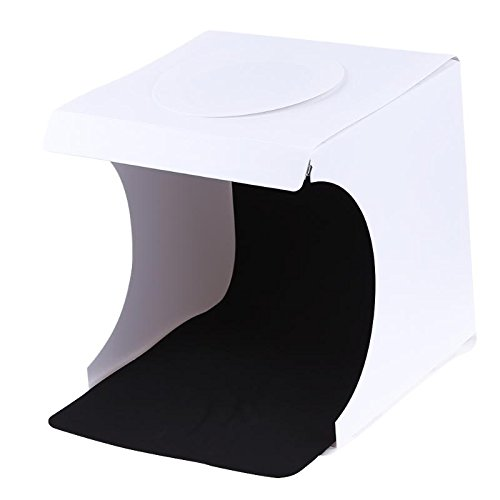 SUPERELE 23 x 22 x 24cm Mini Foldable Light Room Box Tabletop Shooting Tent Built in LED Light Soft Box Portable Photo Studio Softbox