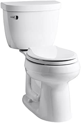 KOHLER K-3851-0 Cimarron Comfort Height Two-Piece Round-Front 1.28 GPF Toilet with Aqua Piston Flush Technology, 10-Inch Rough-In and Left-Hand Trip Lever, White