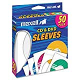 CD/DVD Sleeves, Clear Window, 50/PK, White, Sold as 2 Box