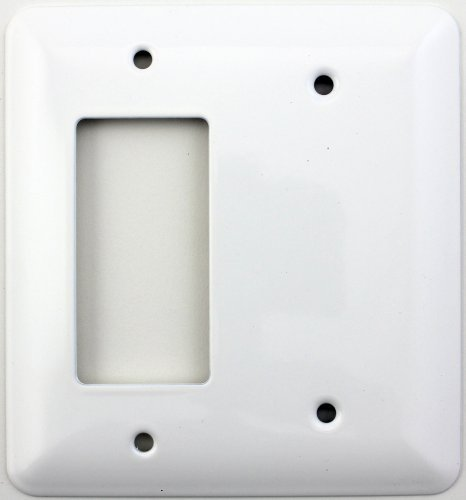 Gfi Blank - Classic Accents Mulberry White Princess Wall Plates - (2 Gang Combo - 1 GFCI/Rocker 1 Blank)